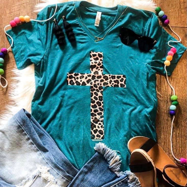 Leopard Cross Tee-Four Sisters Boutique