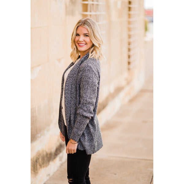 Charcoal Marbled Cardigan-Four Sisters Boutique