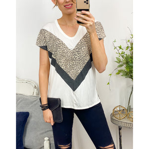 Leopard V Color Blocking Top-Four Sisters Boutique