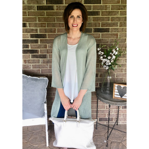 Sage Open Weave Cardigan-Four Sisters Boutique