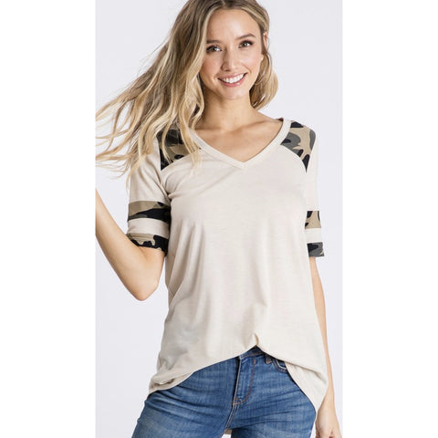 Taupe Contrast Camo Top-Four Sisters Boutique