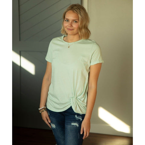 Sage Front Twist Top-Four Sisters Boutique