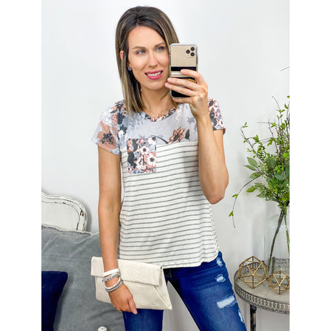 Gray Floral and Stripe Top-Four Sisters Boutique