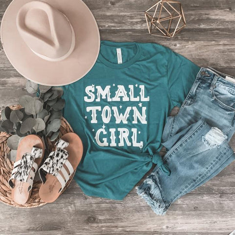 Small Town Girl Tee in Teal-Four Sisters Boutique