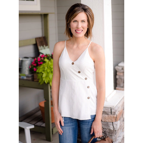 Asymmetrical Button Tank-Four Sisters Boutique