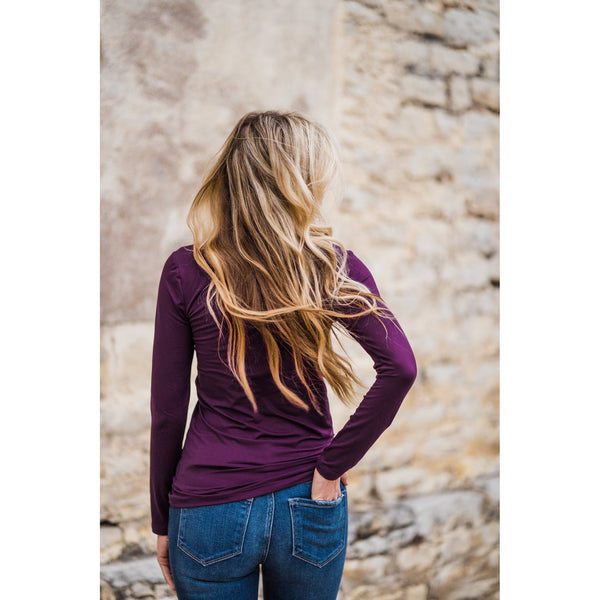 Favorite Long Sleeve Top in Plum-Four Sisters Boutique