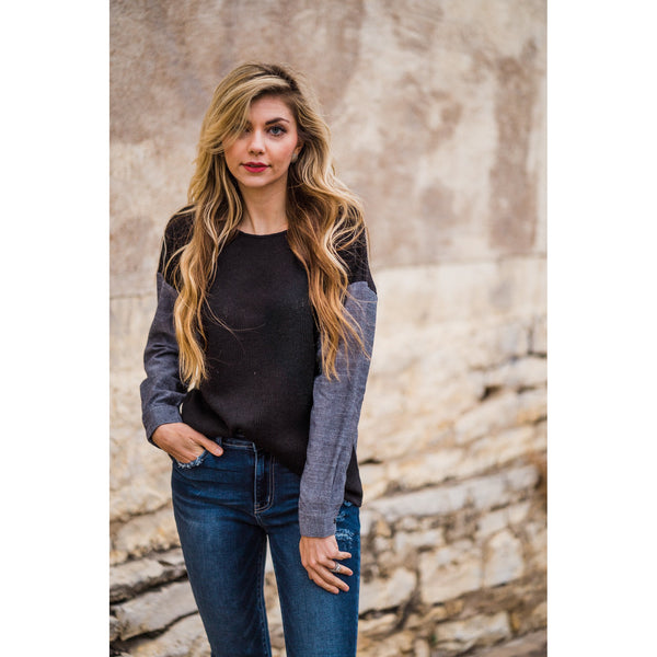 Chambray and Black Contrast Top-Four Sisters Boutique