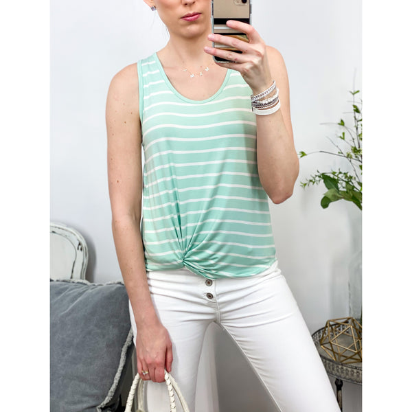 Mint Striped Tank-Four Sisters Boutique