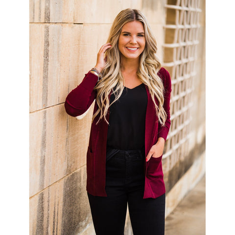 Everyday Cardigan in Burgundy-Four Sisters Boutique