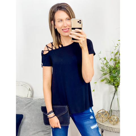 Black Strap Shoulder Top-Four Sisters Boutique