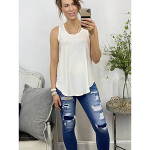 Ivory Relaxed Fit Tank-Four Sisters Boutique