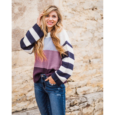 Plum Color Block Sweater-Four Sisters Boutique