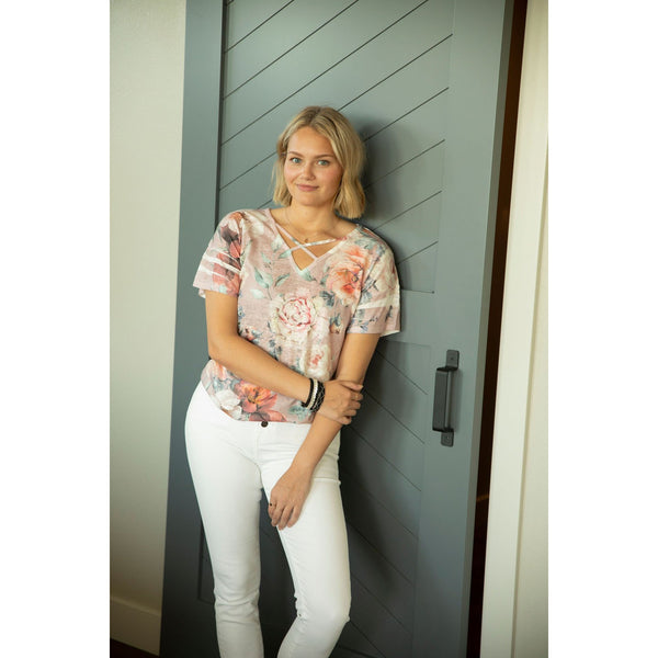 Blush Floral Top-Four Sisters Boutique