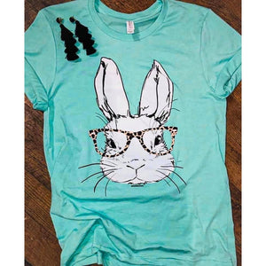 Leopard Bunny Tee-Four Sisters Boutique