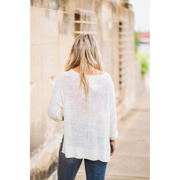 Off White Open Weave Sweater-Four Sisters Boutique