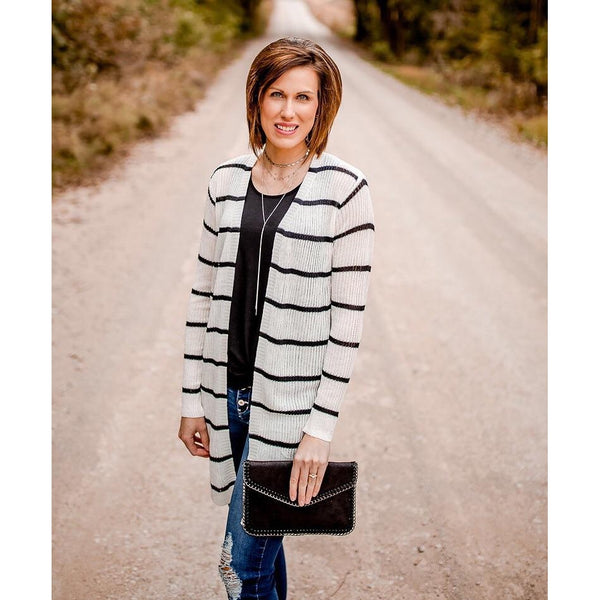 White and Black Stripe Cardigan-Four Sisters Boutique