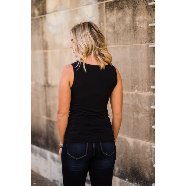 Black Ruched Tank-Four Sisters Boutique