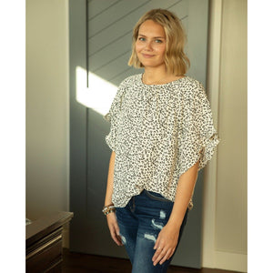 Ruffle Sleeve Top-Four Sisters Boutique