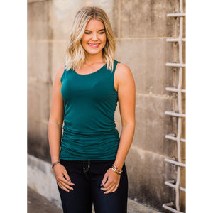 Deep Green Ruched Tank-Four Sisters Boutique