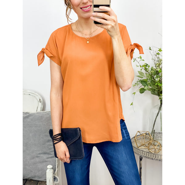 Bow Sleeve Silk Top-Four Sisters Boutique