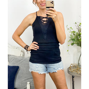 Laced Up Cami Tank in Black-Four Sisters Boutique