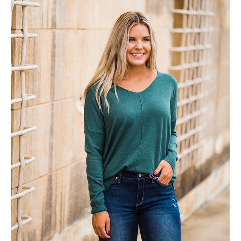 Heather Juniper V-Neck Sweater-Four Sisters Boutique