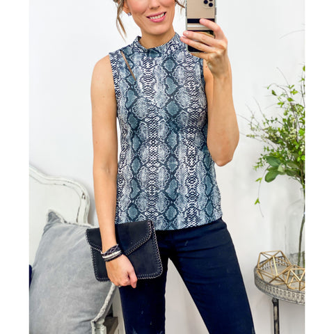 Snake Print Mock Neck Top-Four Sisters Boutique