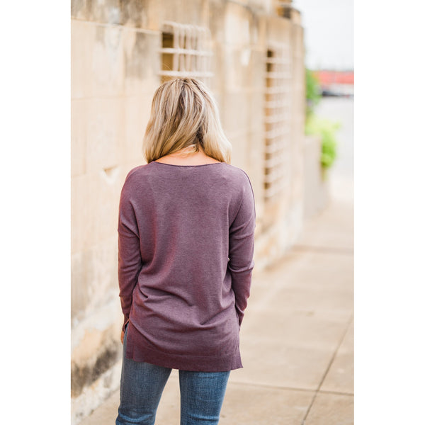 Heather Acai V-Neck Sweater-Four Sisters Boutique
