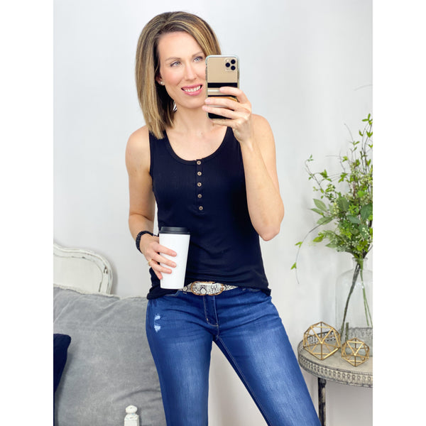 Rib Henley Tank in Black-Four Sisters Boutique
