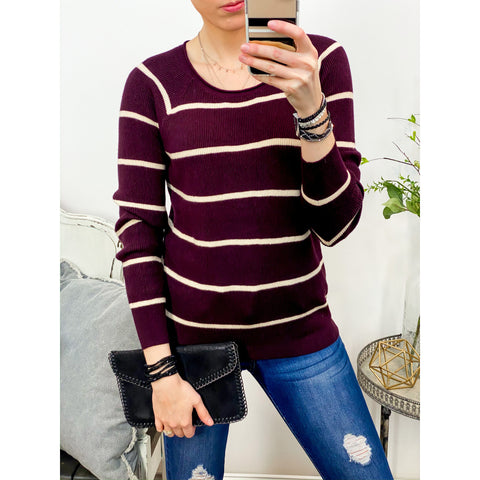 Plum and Oatmeal Stripe Top-Four Sisters Boutique