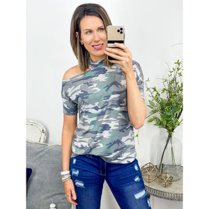 Camo One Cold Shoulder Top-Four Sisters Boutique