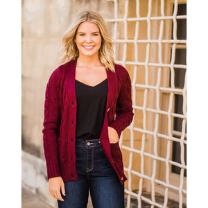Burgundy Cable Knit Cardigan-Four Sisters Boutique