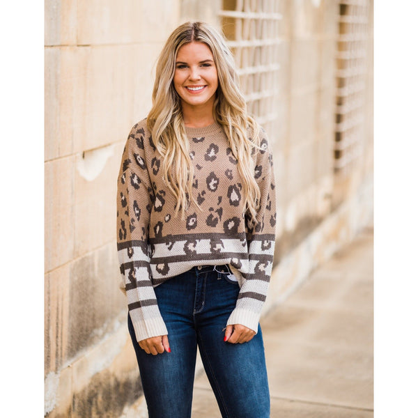 Leopard and Stripe Sweater-Four Sisters Boutique