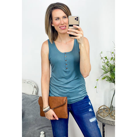 Rib Henley Tank in Teal-Four Sisters Boutique