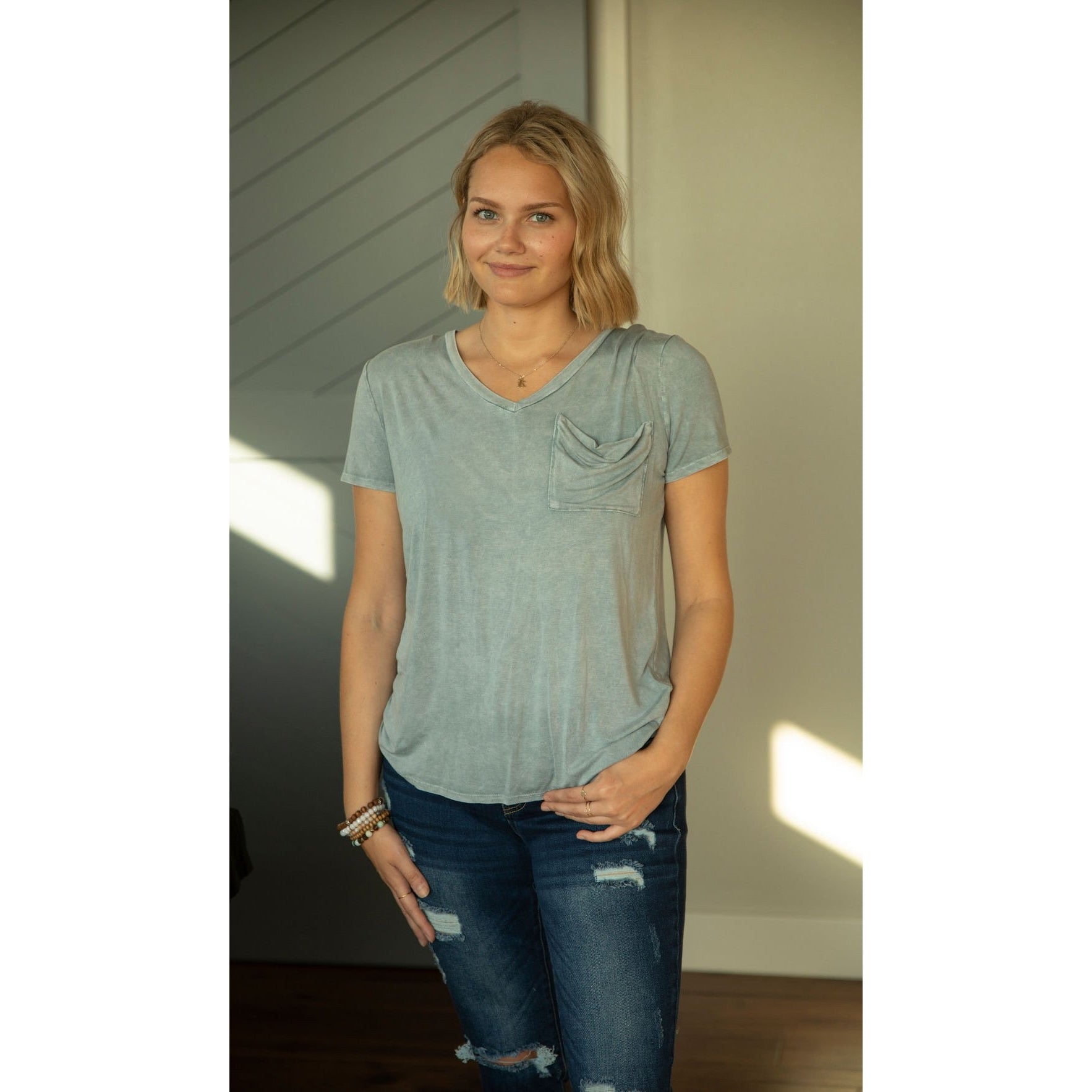 Sky Blue Mineral Wash Pocket Top-Four Sisters Boutique