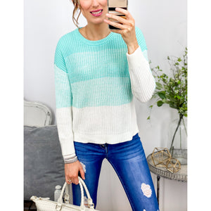 Mint Ombre Sweater-Four Sisters Boutique