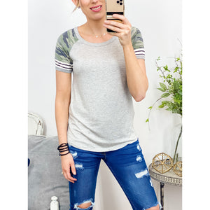 Camo and Stripe Contrast Top-Four Sisters Boutique