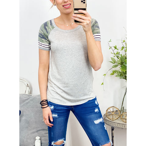 Camo and Stripe Contrast Top