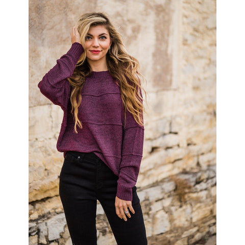 Seam Detailed Plum Sweater-Four Sisters Boutique