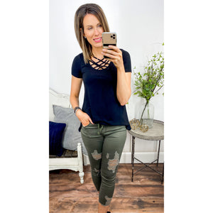 Olive Destructed Joggers-Four Sisters Boutique