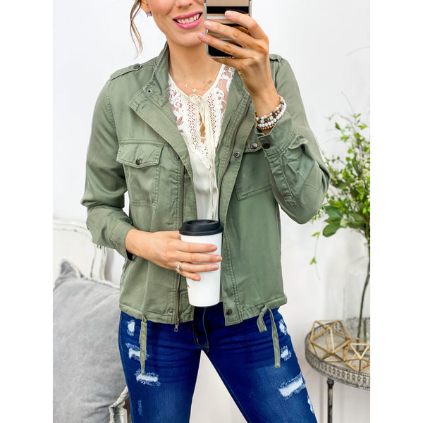Olive Utility Jacket-Four Sisters Boutique