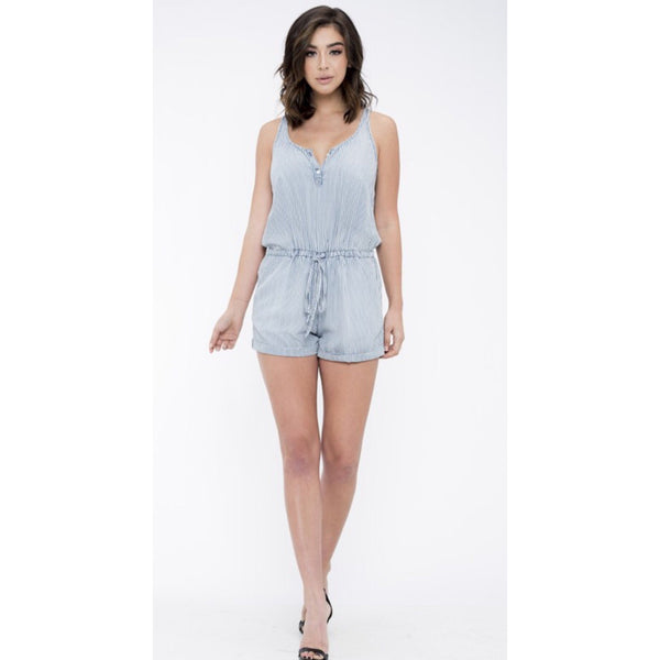 Chambray Stripe Romper-Four Sisters Boutique