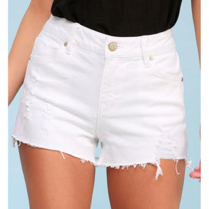 Stella White Distressed Denim Shorts-Four Sisters Boutique