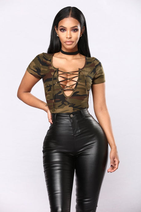 Sexy Lace Up Camouflage Bodysuit