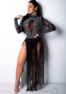 Black Studded Tassel Sheer Mesh Dress - The Faddi Clothing Boutique - Sexy Club Party Clothes