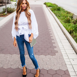 Lantern Long Sleeve Front Bow White Shirt
