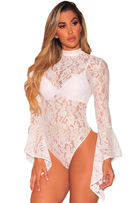 Floral Lace Bell Sleeve Ruffle Bodysuit