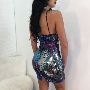 Changing Colors Sequins Bodycon Party Dress - The Faddi Clothing Boutique - Sexy Club Party Clothes