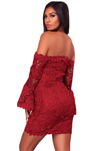 Lace Off Shoulder Flare Sleeve Fitted Dress