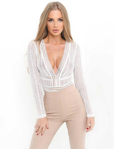 Deep V Neck Open Back Bodysuit - The Faddi Clothing Boutique - Sexy Club Party Clothes